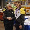 Katharine Holmes receives the 5th place medal in Cadet Women's Epee from Nancy Anderson, USFA President.