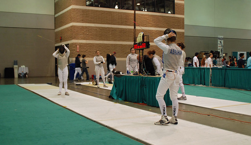 Lena Abraham (right) in the Division II Women's Foil.  Lena was 6-0 in the pools and seeded 5th out of 96 entries.