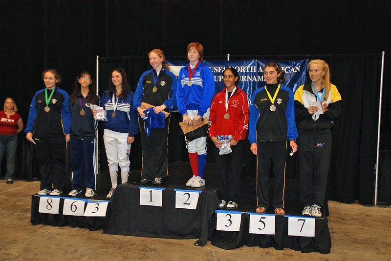 Cadet Women's Epee Finalists, from left: Cory Abbe (8th), Nik Nik Ameli (6th), Francesca Bassa (3T), Phoebe Caldwell (1st), Nadia Eldeib (2nd), Amrit Bhinder (3T), Isabella Barna (5th), and Annie Stephenson (7th).