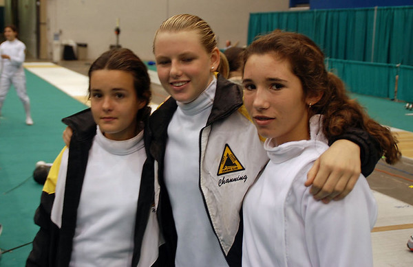 Nina Moiseiwitsch, Channing Foster and Ella Barnes at the Division III Women's Epee.