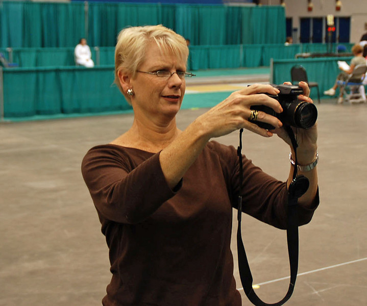 Lee Foster (Channing's mom) taking a picture of the girls at the Division III Women's Epee.