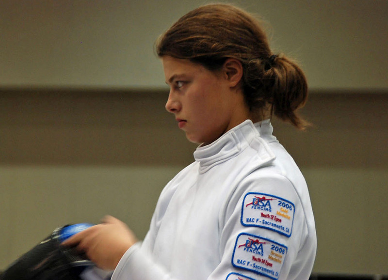 Katharine Holmes focusing on her opponent at the start of a bout.