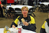 Coach Jean Finkleman takes time for lunch.