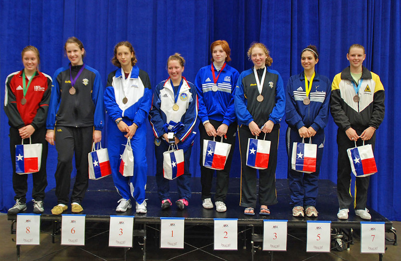 The finalists in the Cadet Women's Epee, from left: Gabrielle Strass, Emily D'Agostino, Hannah Safford, Natalie Gegan, Nadia Eldeib, Phoebe Caldwell, Francesca Bassa, Channing Foster.
