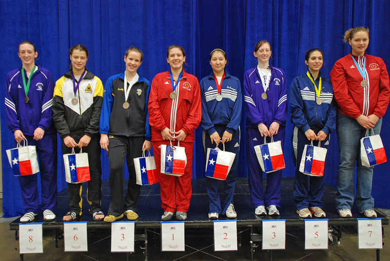 The finalists in Junior Women's Epee, from left: Kayley French, Katharine Holmes, Emily D'Agostino, Courtney Hurley, Dina Bazarbayeva, Christa French, Francesca Bassa, Danielle Henderson.