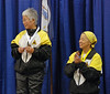 Aeran Lee, left, 3rd Place and Bettie Graham, 5th Place, Veteran 60+ Women's Foil.