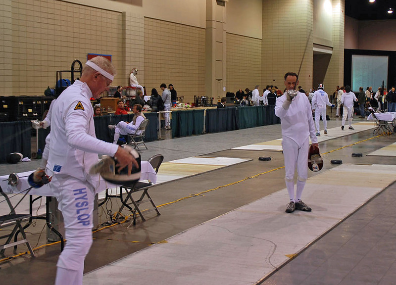 John Hyslop, left, and Mark Henry warming up before the Veteran 60+ Men's Epee.
