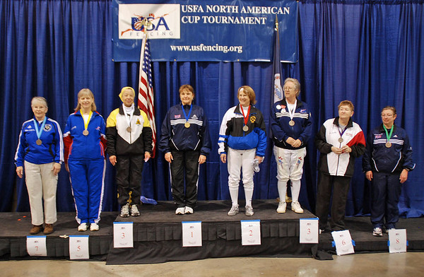 The finalists in Veteran 60+ Women's Epee: Ellen O'Leary (7th), Kathryn Rubin (5th), Bettie Graham (3rd), Diane Kallus (1st), Bonnie Aher (2nd), Patricia Bedrosian (3rd), Mary Annavedder (6th), Linda Nowell (8th).