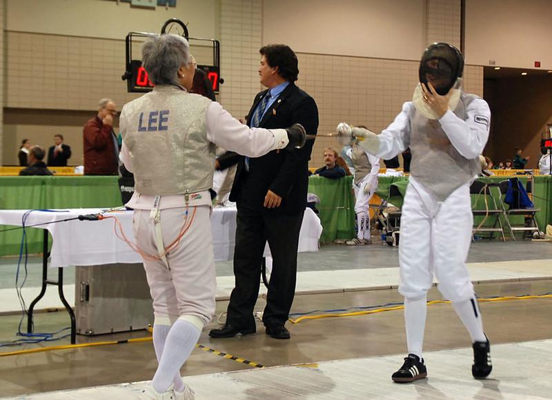 Aeran Lee tests vests in the Veteran Women's Foil.