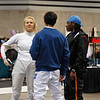 Annie Stephenson talking with friends after the Division I Women's Epee.