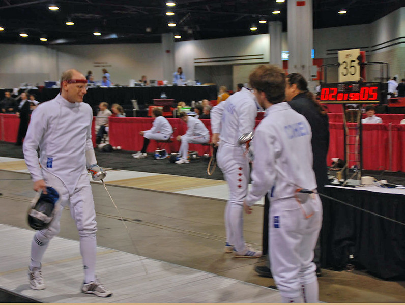 Ben Cohen vs Joe Hoffman in the Division I Men's Epee.  Ben won 5-4.