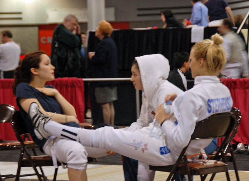 Friends gather between rounds.  From left, Lydia Kopecky, Dina Bazarbayeva, and Annie Stephenson.