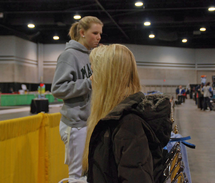 Annie Stephenson and Channing Foster before the Division I Women's Epee.