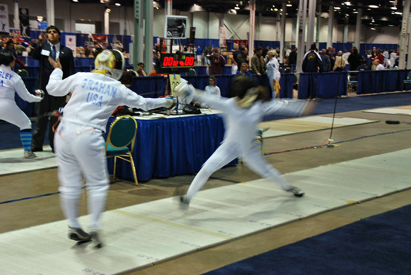 Bettie Graham stops against her opponent's attack in the Division III Women's Epee.
