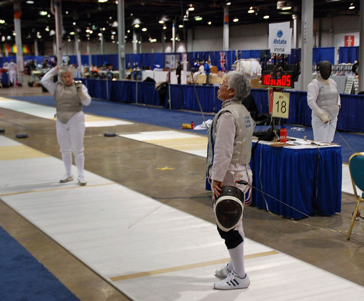 Aeran Lee about to begin her direct elimination bout in the Veteran 60+ Women's Foil.