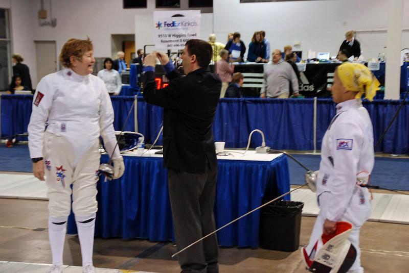 Bettie Graham, right, fences against Mary Annavedder in the Vet 60+ Women's Epee.