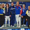 The finalists of the Veteran 60+ Women's Foil.  From left, Judith Evans (7th), Aeran Lee (5th), Diane Reckling (3rd), Linda Nowell (1st), Patricia Bedrosian (2nd), Ellen O'Leary (3rd), Bettie Graham (6th).