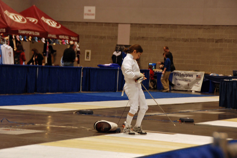 Elizabeth Wiggins hooks up to the reel in the Youth-10 Women's Epee.