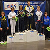 The finalists in Youth-14 Women's Epee.  From left, Oksana Samorodov (7th), Isabella Barna (5th), Nina Van Loon (3rd), Nik Nik Ameli (2nd), Katharine Holmes (1st), Emma Peterson (3rd), Mason Speta (6th), Renee Bichette (8th).