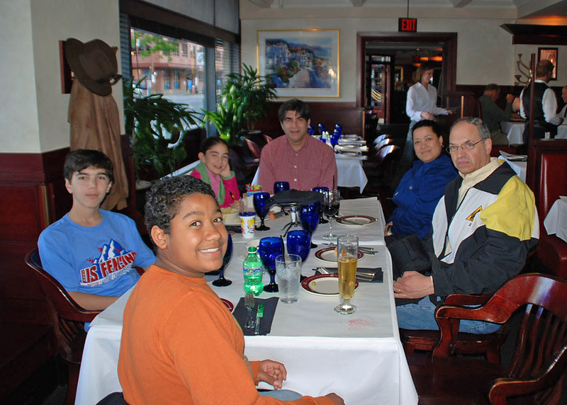 The Chevy Chase Fencing Club at dinner at the Portland Steak and Chophouse.  From left, Daniel Wiggins, Seth Flanagan, Lizzie Wiggins, Steve Wiggins, Melanie Carr, Raymond Finkleman (not pictured, Jean Finkleman).