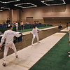 Daniel Wiggins warms up for the Youth-14 Men's Epee.