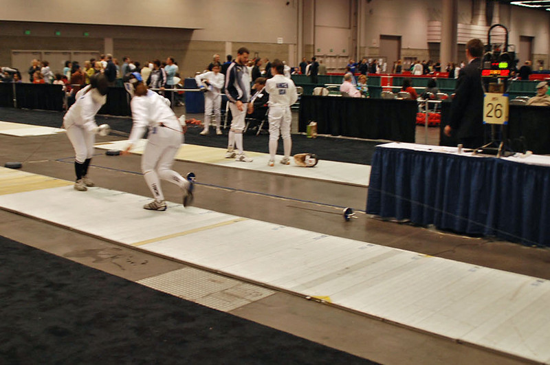 Katharine Holmes (right) in the Youth-14 Women's Epee.