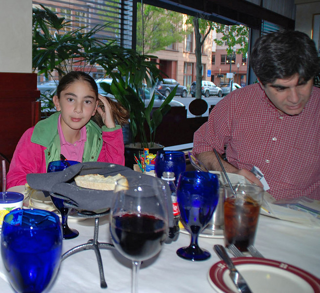 Elizabeth Wiggins and Stephen Wiggins at dinner after the Youth-10 Women's Epee.