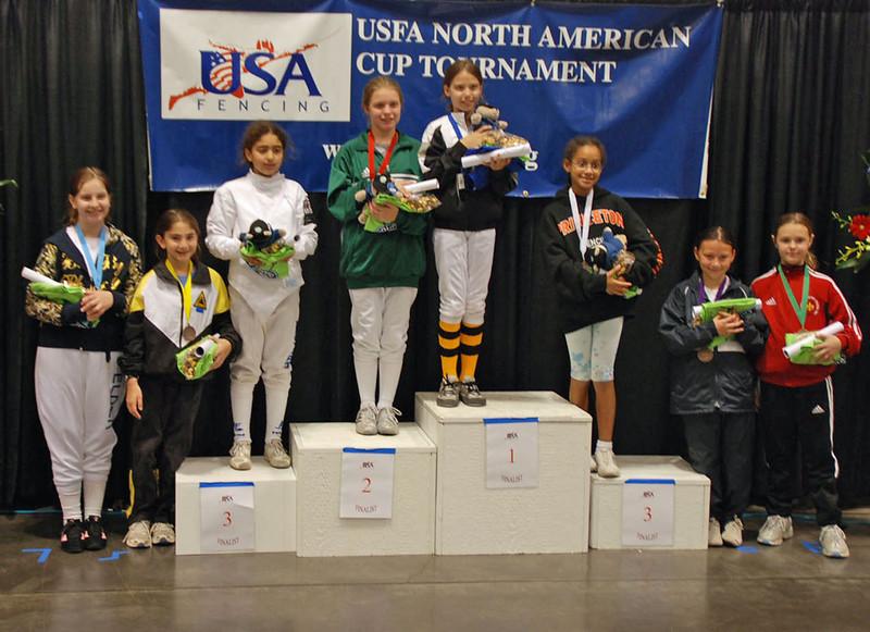 The finalists in the Youth-10 Women's Epee.  From left, Hanna Elder (7th), Elizabeth Wiggins (5th), Lina Aldadah (3rd), Alexandria Micek (2nd), Morgan Davie (1st), Kasia Nixon (3rd), Remmington Ruyle (6th), and Pauline Hamilton (8th).