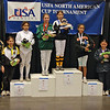 The finalists in the Youth-10 Women's Epee.  From left, Hanna Elder (7th), Elizabeth Wiggins (5th), Lina Aldadah (3rd), Alexandria Micek (2nd), Morgan Davie (1st), Kasia Nixon (3rd), Remmington Ruyle (6th), and Pauline Hamilton (8th).