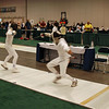 Daniel Wiggins (right) fencing in the Youth-14 Men's Epee.