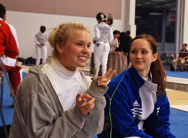 Annie Stephenson and Lydia Kopecky before the Division IA Women's Epee.