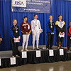 The finalists in Division IA Women's Epee, from left: Helen Joley (7th), Phoebe Caldwell (5th), Natalie Vie (3rd), Christine Dominick (1st), Emily D'Agostino (2nd), Katharine Holmes (3rd), Amy Orlando (6th), Alexandra Mummery (8th).