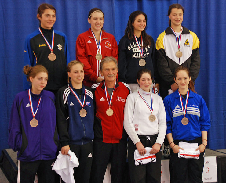 The finalists in Junior Women's Epee.  Top Row: Isabella Barna (3rd), Courtney Hurley (1st), Francesca Bassa (2nd), Katharine Holmes (3rd).  Bottom Row:  Susannah Scanlan (7th), Neely Brandfield-Harvey (5th), Fencing Master Paul Pesthy, Sarah Collins (6th), Lydia Kopecky (8th).