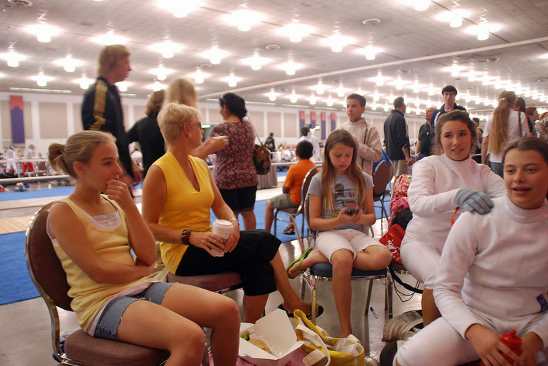 Some of the Chevy Chase Fencers before the Cadet Women's Epee event.