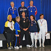 The finalists of the Veteran-60 Women's Foil.  Top row: Ellen O'Leary (3rd), Linda Nowell (1st), Patricia Bedrosian (2nd).  Bottom row: Bettie Graham (5th), Judith Evans (7th), Linda Nowell's coach, Diane Reckling (3rd), and Anna Mannino (6th).
