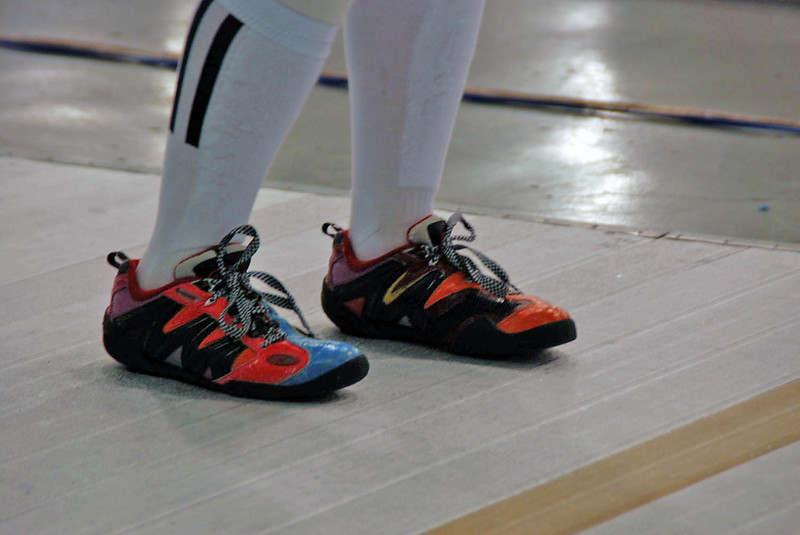Nina Moiseiwitsch's multicolor fencing shoes.