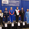 The finalists in Veteran-60 Women's Epee, from left: Bettie Graham (5th), Diane Kallus (3rd), Patricia Bedrosian (1st), Mary Annavedder (2nd), Linda Nowell (3rd) and Maureen Rea (6th).