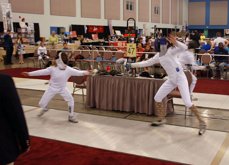 Olivia Morreale, left, in the Youth-12 Women's Epee.