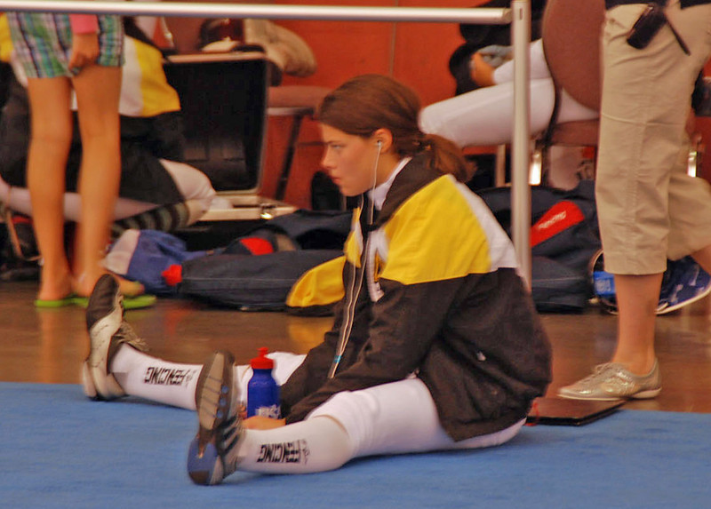 Katharine Holmes warming up for the Youth-14 Women's Epee.