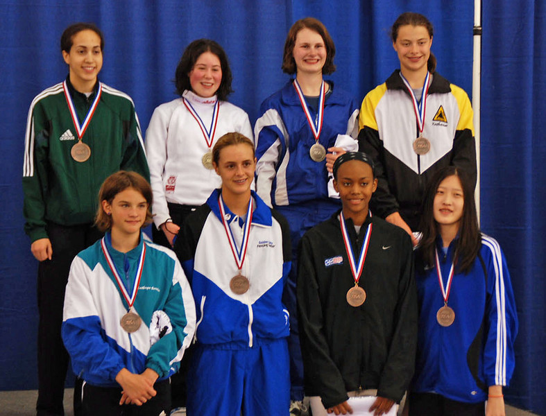 The finalists in Cadet Women's Epee, top row from left: Elizabeth Donnenberg (3rd), Sarah Collins (1st), Juleah Nusz (2nd), Katharine Holmes (3rd), bottom row from left: Nina Van Loon (7th), Grace Neveu (5th), Kimberly Howell (6th), Mary Tung, 8th.