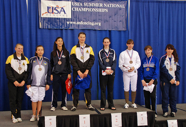 The Youth-14 Women's Epee Finalists, from left: Channing Foster (7th), May Peterson (5th), Nik Nik Ameli (3rd), Katharine Holmes (1st), Christina Efthimion (2nd), Rebecca Rutan (3rd), Mason Speta (6th), Cara Hall (8th).