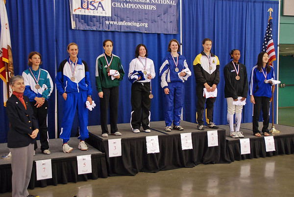 The finalists in Cadet Women's Epee, from left: Nina Van Loon (7th), Grace Neveu (5th), Elizabeth Donnenberg (3rd), Sarah Collins (1st), Juleah Nusz (2nd), Katharine Holmes (3rd), Kimberly Howell (6th), Mary Tung, 8th.