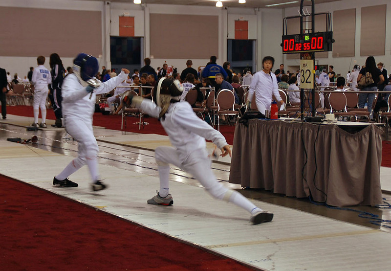 Daniel Wiggins, right, in the Youth-12 Men's Epee.