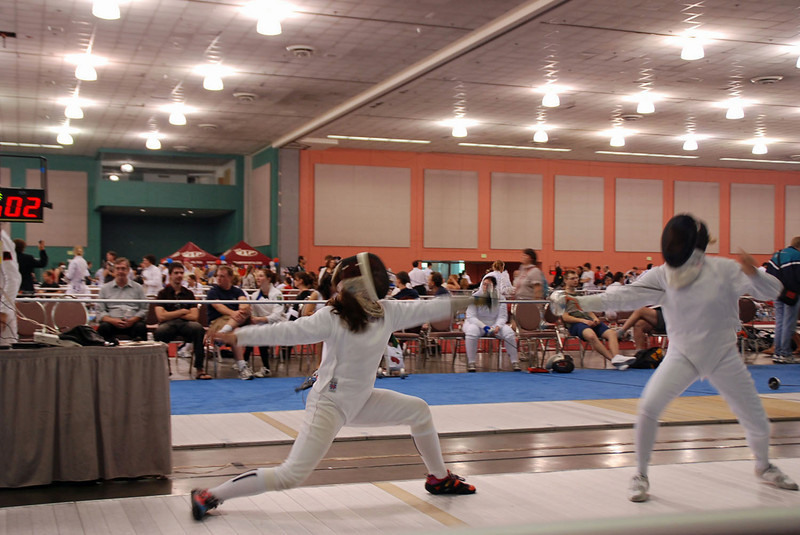 Nina Moiseiwitsch, left, in the Division III Women's Epee.