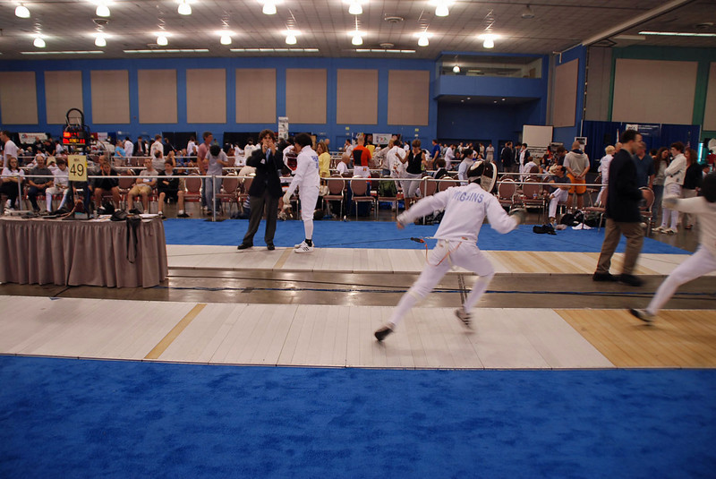 Daniel Wiggins scores in the Youth-14 Men's Epee.