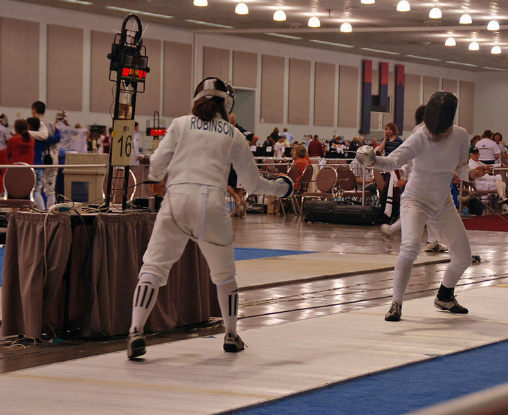 Annie Stephenson, right, in the Division IA Women's Epee.