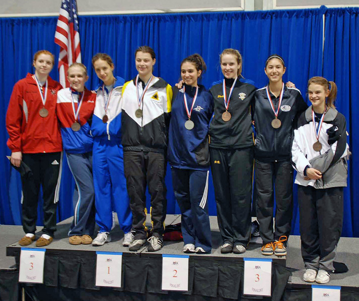 The finalists in Junior Women's Epee.  From left: Nadia Eldeib (7th), Oksana Samorodov (5th), Hannah Safford (3rd), Katharine Holmes (1st), Francesca Bassa (2nd), Emily D'Agostino (3rd), Nik Nik Ameli (6th), Nina Van Loon (8th).