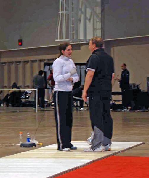 Gary Copeland coaching Kathryn Bernstein during Cadet Women's Epee.