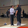 Gary Copeland coaching Kathryn Bernstein during Cadet Women's Epee.