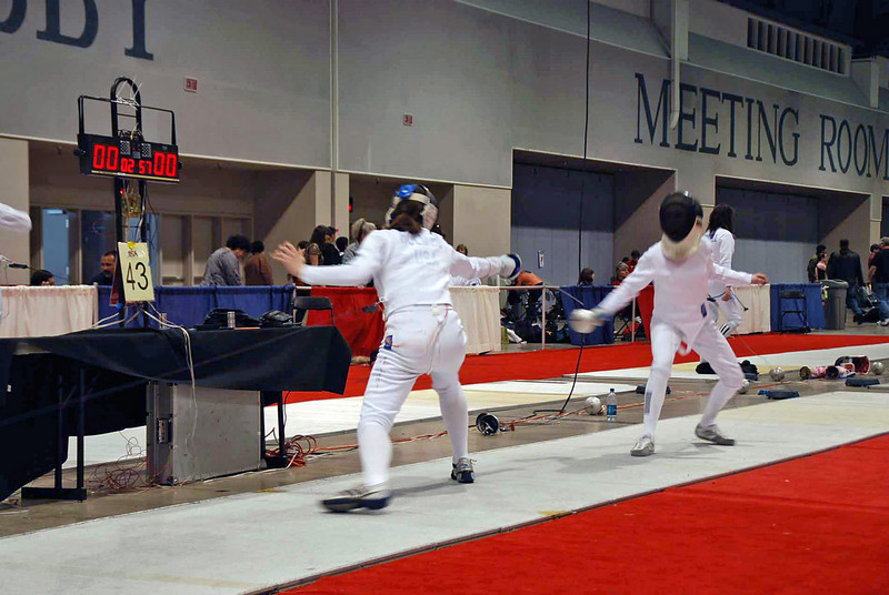 Katharine Holmes (left) in the Cadet Women's Epee.